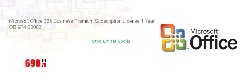 Microsoft Office 365 Business Premium Subscription License 1 Year OB 9F4-00003