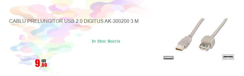 CABLU PRELUNGITOR USB 2.0 DIGITUS AK-300200 3 M