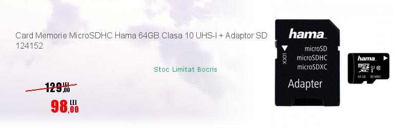 Card Memorie MicroSDHC Hama 64GB Clasa 10 UHS-I + Adaptor SD 124152
